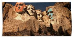 Mount Rushmore Red And Blue Drawing Beach Towel