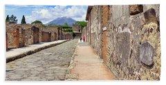 Mount Vesuvius And The Ruins Of Pompeii Italy Beach Towel