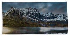 Mountain Lake In Norway On Lofoten Near Nusfjord Beach Towel