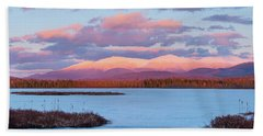 Beach Towel featuring the photograph Mountain Views Over Cherry Pond by Jeff Sinon