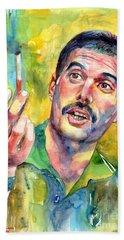 Mr Bad Guy - Freddie Mercury Portrait Beach Towel