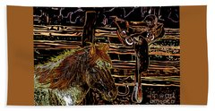 Mustang Horse And A Western Saddle Beach Towel
