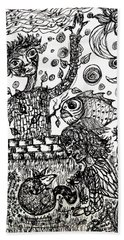Beach Towel featuring the drawing Mute Conversation by Mimulux patricia No