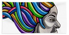 Colorful Abstract Black Woman Face Hair Painting Artwork - African Goddess Beach Sheet