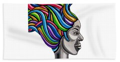 My Attitude - Abstract Chromatic Hair Painting, Abstract Female Painting - Ai P. Nilson Beach Sheet