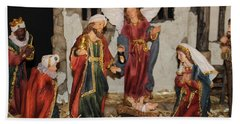 My German Traditions - Christmas Nativity Scene Beach Towel