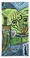 Beach Towel featuring the painting Mystical Powers by Sotuland Art