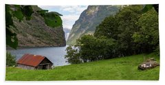 Beach Towel featuring the photograph Naeroyfjord, Norway by Andreas Levi