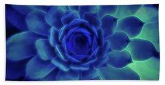 Beach Towel featuring the digital art Neon Blue Sempervivum by Scott Lyons