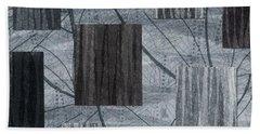 Neutral Toned Leaf Square Print Beach Towel