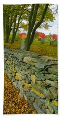 New England Stone Wall 2 Beach Towel