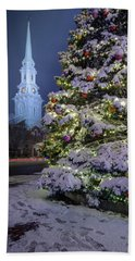 Beach Towel featuring the photograph New Snow For Christmas by Jeff Sinon