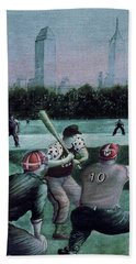 New York Central Park Baseball - Watercolor Art Painting Beach Towel