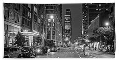 New York City Gotham West Market New York Ny Black And White Beach Towel