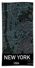 New York City Map Black Edition Beach Towel