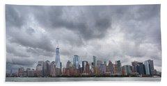 New York Stormy Skyline Beach Towel
