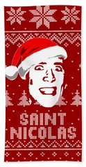 Nicolas Cage Saint Nicolas Christmas Shirt Beach Towel