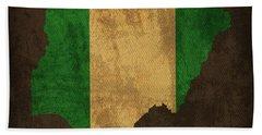 Nigeria Country Flag Map Beach Towel
