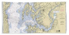 Chesapeake Bay, Cove Point To Sandy Point Nautical Chart 12263 Beach Towel