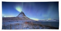 Beach Towel featuring the photograph Northern Lights Atop Kirkjufell Iceland by Nathan Bush