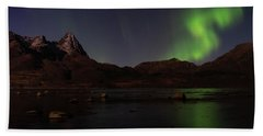 Northern Lights Aurora Borealis In Norway Beach Towel