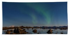 Northern Lights Over A Swamp  Beach Towel