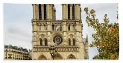 Notre Dame Cathedral Paris France Beach Sheet