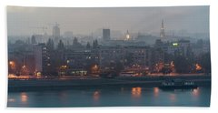 Novi Sad Night Cityscape Beach Sheet