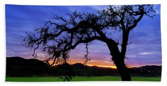 Beach Towel featuring the photograph Oak At Sunset by John Rodrigues