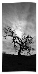 Beach Towel featuring the photograph Oak Tree Silhouette by John Rodrigues
