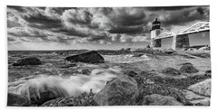 Beach Towel featuring the photograph October Morning At Marshall Point In Black And White by Rick Berk