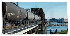 Oil Train Over Swinomish Channel Beach Towel
