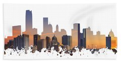 Okc Skyline Sunset Silhouette Beach Towel