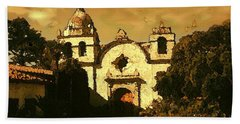 Old Carmel Mission - Watercolor Painting Beach Sheet
