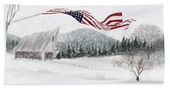 Old Glory In The Snow Beach Sheet