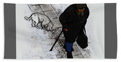 Beach Towel featuring the digital art Old Lady With A Dog by Attila Meszlenyi