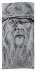 Old Man In A Hat  Beach Towel