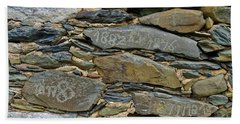Old Schist Wall With Several Dates From 19th Century. Portugal Beach Towel