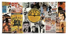 Oldies Pop And Rock Collage 1 Beach Towel