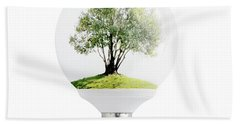 Olive Tree In Light Bulb. Beach Towel