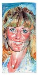 Olivia Newton John Watercolor Beach Towel