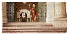 Beach Towel featuring the photograph On Guard At The Vatican by Jacqui Boonstra