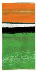 Orange And Green Abstract I Beach Towel