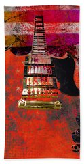Orange Electric Guitar And American Flag Beach Sheet