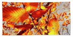 Orange Fall Leaves Beach Towel