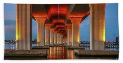 Orange Light Bridge Reflection Beach Towel