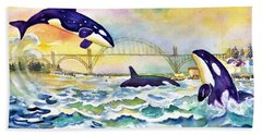 Orcas In Yaquina Bay Beach Towel
