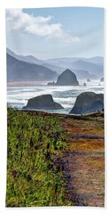 Beach Towel featuring the photograph Oregon Coast Formations by Jerry Sodorff