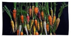 Organic Rainbow Carrots Beach Towel