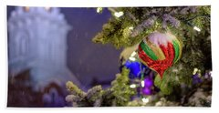 Beach Towel featuring the photograph Ornament, Market Square Christmas Tree by Jeff Sinon